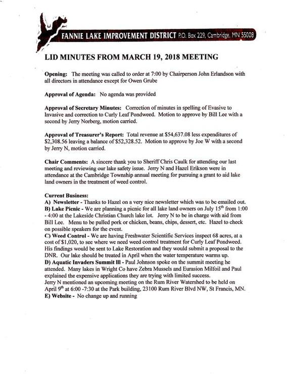 meeting minutes agenda fannie lake improvement district